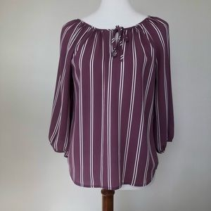 Loft MP Blouse Purple Striped Tie Neckline Career